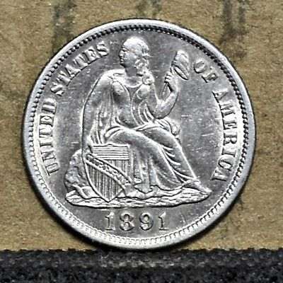 1891-S Liberty Seated Dime - Unc (#15541)