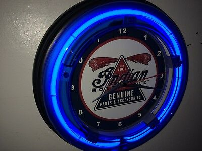 *** Indian Logo Motorcycle Garage Man Cave Blue Neon Wall Clock Sign3