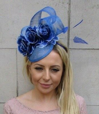 Cobalt Royal Blue Rose Flower Feather Hat Fascinator Hair Races Wedding 6104