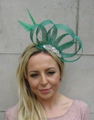 Emerald Green Silver Diamante Sinamay Feather Hair Fascinator Wedding Races 6106
