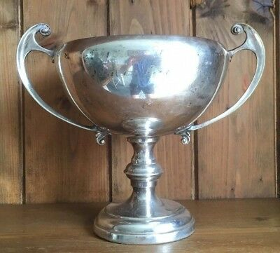 vintage large silver plate Chipping Warden Domino trophy, loving cup, trophy