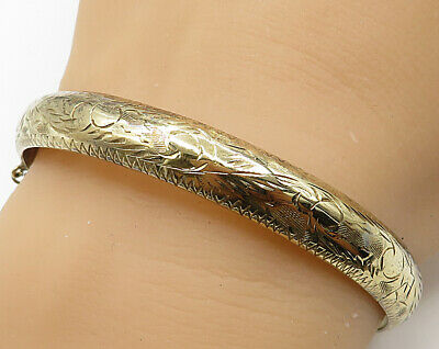 925 Sterling Silver - Vintage Hand Chased Filigree Hinged Bangle Bracelet B2712