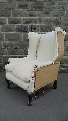 Good Shaped Antique English Wing Armchair