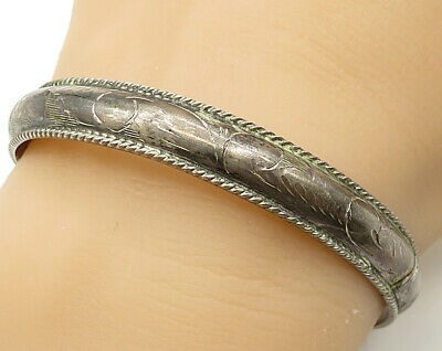 925 Sterling Silver - Vintage Hand Chased Filigree Hinged Bangle Bracelet B2716