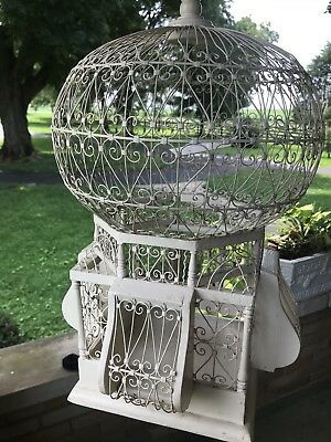 """Vintage Wire And Wood Birdcage-Victorian """"Hot Air Balloon"""" Shape-29"""" Tall-"""