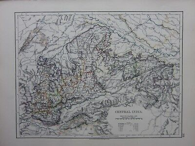 1901 Victorian Map Central India Bhopal Indorf