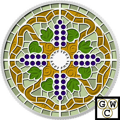 2014 'Casa Loma Stained Glass' Enameled Prf $20 Fine Silver 1oz.Coin(14009) OOAK