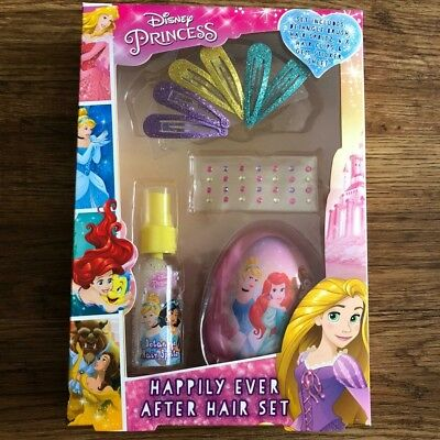 Disney Princess Happily Ever After Hair Set Inc Brush Spritz Clips Gems