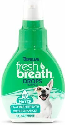 Tropiclean FRESH BREATH Drops Add to Water for Dogs & Cats 65ml Oral Hygiene