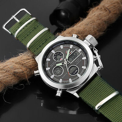 Men Military Army Green Analog Digital Quartz Nylon Canvas Wrist Sport Watch US