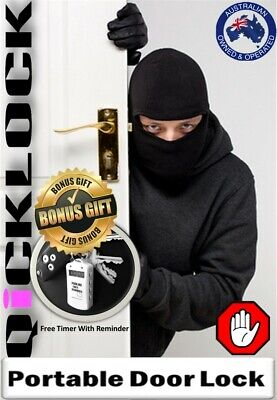 Qicklock Portable Home &Travel Security Door Lock-Bonus Timer AU Seller Hardware