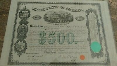 1866 Mexico President Santa Anna $500 Bond issued to cover costs on ranch