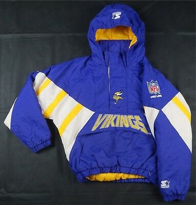 newest 10964 bf49b RARE VINTAGE STARTER Minnesota Vikings Pullover Puffer Parka Jacket 90s  Youth L