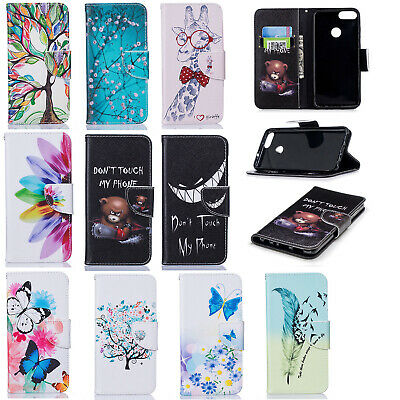 For Huawei Y5 Y6 Y7 Y9 2018 Patterned Leather Case Magnetic Wallet Stand Cover