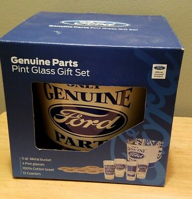 Ford Genuine Parts Pint Glass Gift Set, Metal Bucket, Glasses Coasters