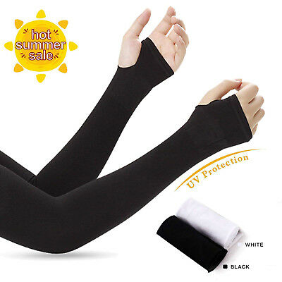 Black Silk UV-Protection Unisex Cooling Arm Sleeves For Outdoor Sports Hiking