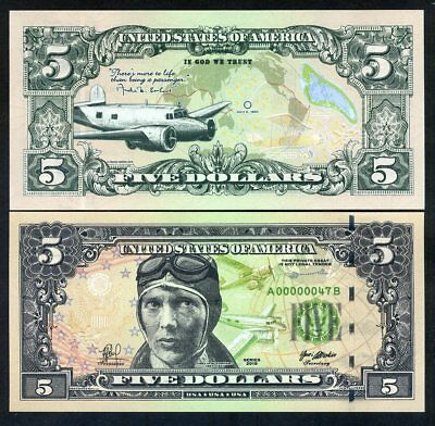 USA, $5, 2018, private Issue, essay proposed design - Amelia Earhart