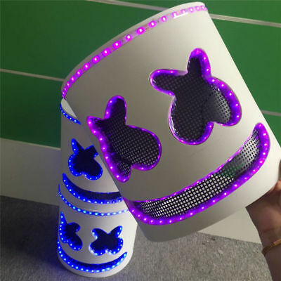 LED Mask Marshmello Helmet Cosplay Costume Halloween Party Props Bar DJ Mask 1X