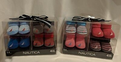 NEW Nautica Newborn Baby Crib Shoes Booties Socks Size 0-6 Months 4 Pr Gift Box