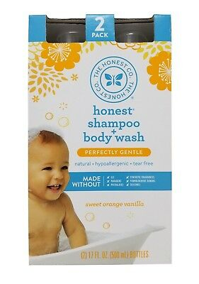 Honest Shampoo + Bodywash Perfectly Gentle Sweet Orange Vanilla 2 Pack