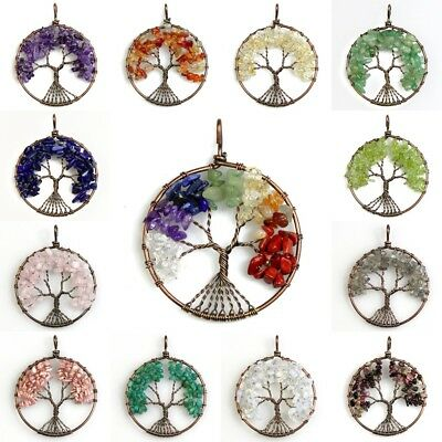 Natural Amethyst Lapis Lazuli Chip Bead Chakra Tree of Life Pendant For Necklace