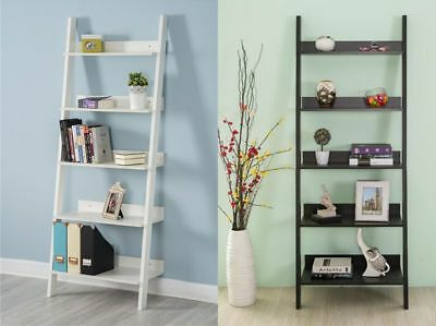 5 Tier Wooden Wall Rack Leaning Ladder Shelf Unit Bookcase Display Black / White