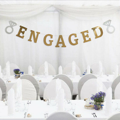 """""""ENGAGED"""" Diamond Ring Engagement Party Bunting Banner Garland Decor Photo Prop"""