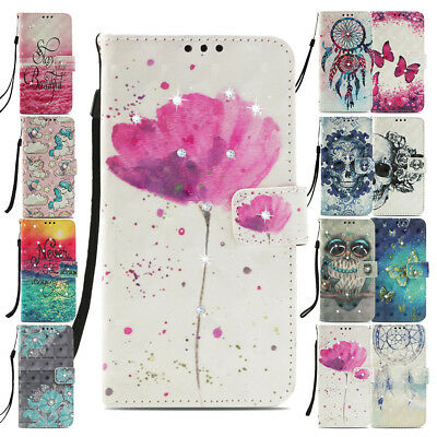 Art Paint Flip Case Cover for Huawei P20 Lite Patterned Wallet Stand Animal Card