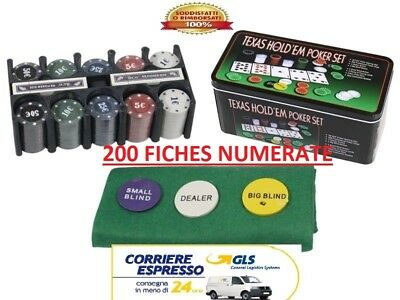 Set Gioco Completo 200 Fiches Numerate Euro Texas Hold'em Poker Black Jack