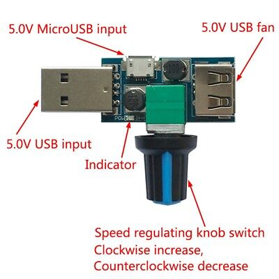 USB Fan Governor Speed Controller 4~12V Regulator Multi-stall Switch Module TW