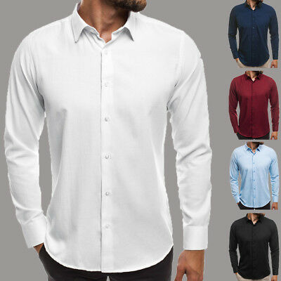 Luxury Men's Slim Fit Dress Shirt Long Sleeve Casual Formal Button T-shirts Top