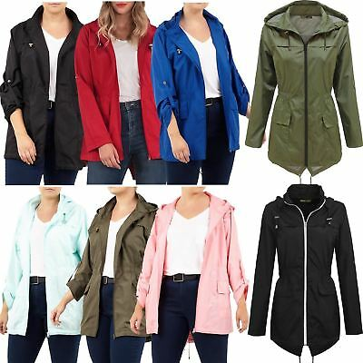 2204fb08004c8 Womens Plus Size Lightweight Showerproof Mac Fishtail Plain Parka Rain  Jackets