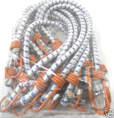 "(12) 24"" Inch (2 Ft.) Heavy Duty Orange Hook  Bungee Cord Tie Down Strap 12 Pc."