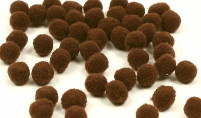 Brown Tiny Pom Poms - Mini 7mm - Toy Making Kids Crafts - Trimits PP1BR