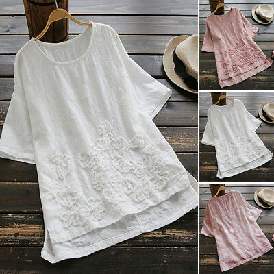 AU 10-24 Women Short Sleeve Solid Basic Tee T Shirt Top Baggy Boho Floral Blouse