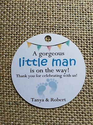 Little man, Baby Girl Personalised Tags Baby Shower Gift Tags Favour Tags 15X
