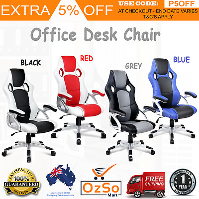 Premium Executive PU Leather Racing Gaming Office Style Computer Chair Comfort