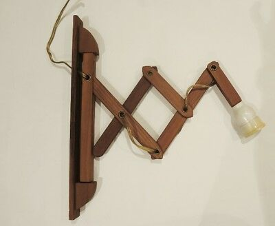 Vintage Danish Teak Scissor Accordion Sconce Light like Le Klint Scandinavian
