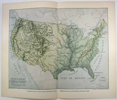 Original 1903 Dated Physical Map of the United States by Dodd Mead & Company