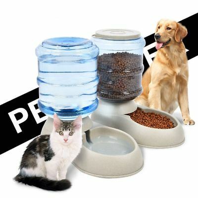 Automatic Pet Feeder Drinking Fountain Cat Dog Food Bowl Water Dispenser