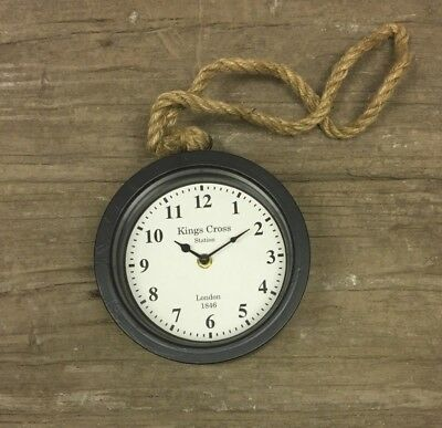 Black Vintage Style Round Kings Cross Station Wall Clock Rustic Hanging Rope B27