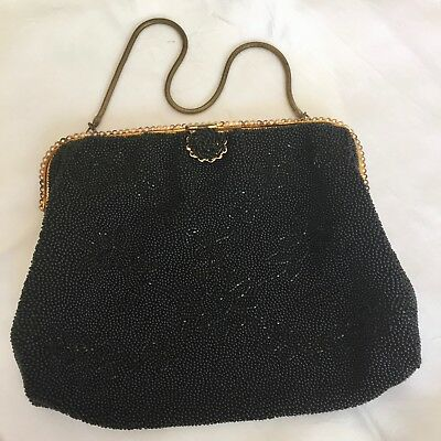 Antique French Micro-Beaded Evening Purse/black Satin Lining/brass Coil Handle