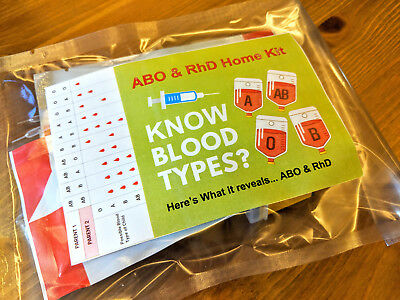 ABO RhD Home Blood Group Type Test Testing Kit CE Marked FREE SHIPPING