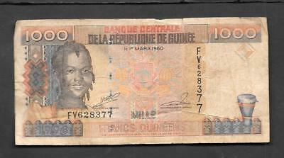 Guinea 1000 Francs Circulated Banknote 1998 Guinee