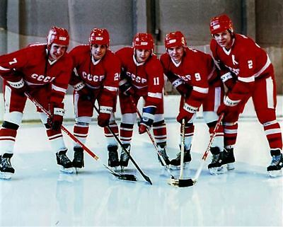 The Big Russian Five Team USSR Russia with Krutov, Larionov, Makarov 8x10 Photo