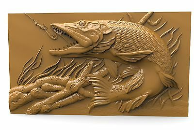 3d STL Model for CNC 142 (Pike Fish) Router Engraver Machine Relief Artcam