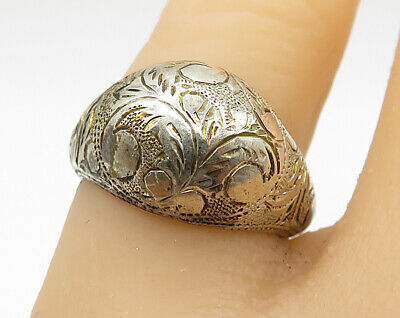 SIAM 925 Silver - Vintage Hand Chased Filigree Dome Band Ring Sz 6 - R3322