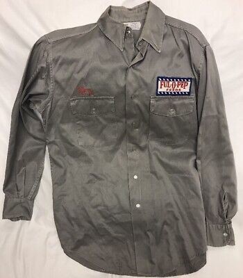 Vintage 60s Protexall Full-O-Pep Feeds Gray Work Shirt Uniform Snap Buttons
