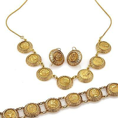 Vintage 22k 14k Gold Greek Style Coin Necklace Bracelet & Earrings set