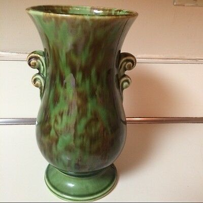 Vintage 1940s Brush McCoy Vase Green Scrolled Art Pottery 594 USA